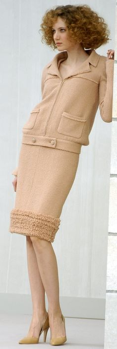 Chanel ~ Camel Wool Skirt Suit w Front Closure Detail