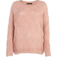 River Island Pale pink knit pattern jumper found on Polyvore