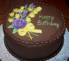 Delicious chocolate birthday cake