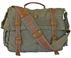 """17"""" Laptop Army Green Leather & Canvas #Messenger Bag #Mens"""