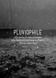 Pluviophile.  I didn't know there is a word for this.  But this is me.  I am enervated by gloomy days, especially rain.