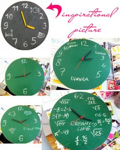 Different chalkboard clocks every day