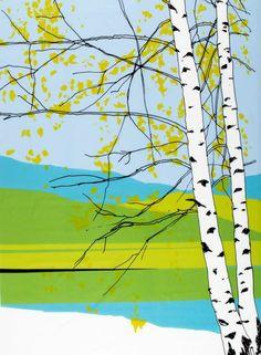Design: Maija Louekari. Kaiku-kangas (v.sininen,vihreä,musta)  Kankaat, Puuvillakankaat   Marimekko