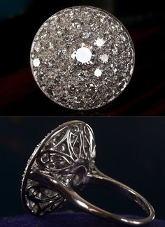 1950s Cluster Cocktail Ring, 0.61ct Brilliant Diamond Center (GIA G/SI1)Approx. ...