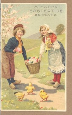 c1910s Happy Eastertide Be Yours Eggs Chicks Dolls PC Easter