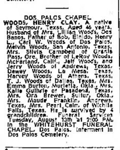 Henry Clay Woods - obituary The Fresno Bee The Republican, 10 Aug 1963, Sat, Page 17