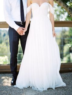 Gorgeous off the shoulder gown: http://www.stylemepretty.com/california-weddings/los-gatos/2015/06/17/romantic-playful-california-winery-wedding-inspiration/ | Photography: Ashley Slater - http://www.ashleyslaterphotography.com/