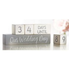 Printed mango wood blocks turn to count down the days until the Wedding Day, Bachelorette Party, Bridal Showers and Anniversaries. Size: x 7 Material: Mango Wood Home Wedding, Our Wedding Day, Wedding Season, Diy Wedding, Rustic Wedding, Wedding Gifts, Dream Wedding, Wedding Ideas, Day Countdown