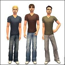 """Mod The Sims - Tight V-Neck Tees & """"Untucked"""" Baggy Jeans and Sweatpants"""