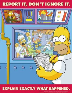 Every workplace should have Simpsons safety posters Lab Safety, Safety First, Safety Fail, Food Safety, Health And Safety Poster, Safety Posters, Office Safety, Workplace Safety, Driving Memes
