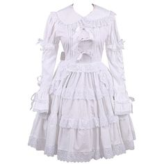 Partiss Women's Lace Ruffles Bow Vintage Victorian Classic Lolita... ($1,930) ❤ liked on Polyvore featuring dresses, flouncy dress, flounce dress, vintage lace cocktail dress, frill dress and victorian lace dress