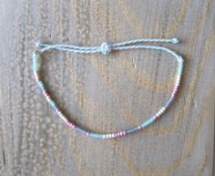 Pretty Pastel Seed Bead Bracelet on Waxed Polyester Cord, Perwinkle, Adjustable, Waxed Cord