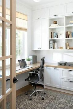 You won't mind getting work done with a home office like one of these. See these 20 inspiring photos for the best decorating and office design ideas for your home office, office furniture, home office ideas Home Office Space, Home Office Desks, Office Lounge, Office Table, Home Office Cabinets, Office Workspace, Office With Two Desks, Large Office Desk, Sunroom Office