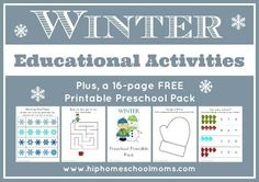 Winter Educational Activities - plus book lists, writing prompts, and FREE 16-page Preschool Printable  Pack