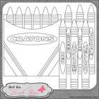 Black and White Crayon Box & Crayons