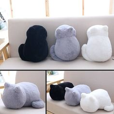 cat pillows Decorate your sofa or bed with the warm and cozy Plush Cat Cushion! Available in 3 colors: White, Gray and Black. Use it a a back pillow or rest your head upon it. Filled with cotton. Perfect gift for cat lovers! Gifts For Pet Lovers, Cat Gifts, Crazy Cat Lady, Crazy Cats, Funny Cute Cats, Adorable Kittens, Funny Dogs, Cat Cushion, Cat Pillow