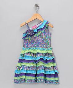 Blue & Lime Asymmetrical Dress - Infant, Toddler & Girls
