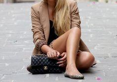 nude blazer, leopard details, black Chanel