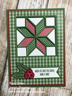 """Randi's Crafty Creations: Stampin' Up Christmas Quilt, Quilt Builder Framelits, Quilted Christmas 6"""" X 6"""" (15.2 X 15.2 Cm) DSP, Stitched Felt Embellishments"""