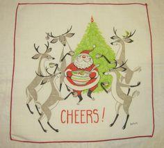 Vintage Christmas Textile Santa & the Reindeer by unclebunkstrunk, $19.99