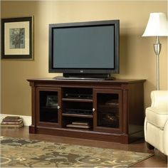 Pemberly Row Full Size TV Stand in Cherry (Red) Finish
