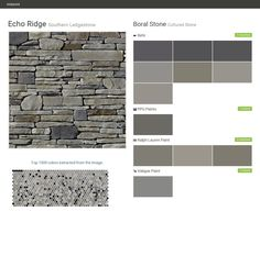 Echo Ridge. Southern Ledgestone. Cultured Stone. Boral Stone. Behr. PPG Paints. Ralph Lauren Paint. Valspar Paint.  Click the gray Visit button to see the matching paint names.
