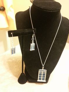 TARDIS  Necklace  with Earrings Set   Silver by DivinityBraid