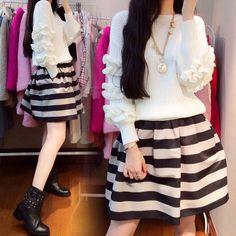 Nell'autunno del 2014 delle donne Coreane new East Gate grande codice di lavoro a maglia vestito a due pezzi vestito all'ingrosso in  da Abiti su AliExpress.com | Gruppo Alibaba