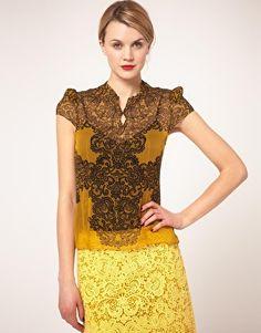 Karen Millen Lace Print Blouse on sale $107.29