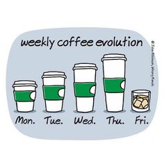 Funny pictures about Weekly Coffee Evolution. Oh, and cool pics about Weekly Coffee Evolution. Also, Weekly Coffee Evolution photos. Coffee Humor, Coffee Quotes, Funny Coffee, I Love Coffee, My Coffee, Coffee Talk, Coffee Break, Coffee Cups, Morning Coffee