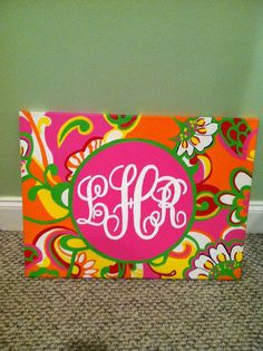 painted initial canvas, so art Kids Canvas Art, Canvas Crafts, Diy Canvas, Painted Initials, Painted Letters, Diy Wall Art, Diy Art, Initial Canvas, Monogram Painting