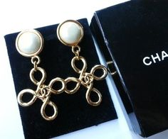 Chanel Authentic Vintage Rare Chanel Twisted Cross CC Logo dangle Clip Earrings Original Box