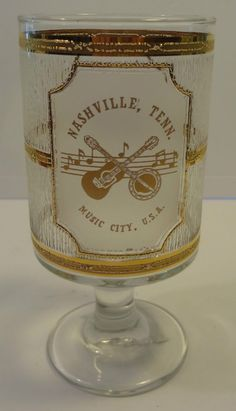 Nashville,Tenn. Music City, U.S.A. gold flashing footed goblet 16 oz.