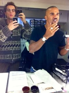 Matthew Gray Gubler & Shemar Moore on set