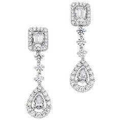 Pear, Emerald Cut & Round Brilliant 1.83 ctw VS2 Clarity, I Color Diamond 18kt White Gold Earrings