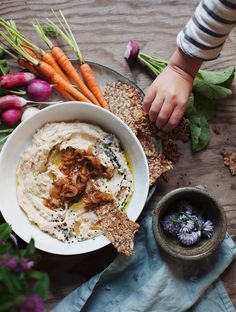 Caramelized Onion White Lentil Hummus // My New Roots