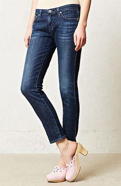 NWT Anthropologie AG Stevie Ankle Petite Slim Straight Stretch Jeans P 28 $168  #AGAdrianoGoldschmied #ankleskinny