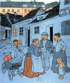 Josef Lada Nový patent (Kopřivy) 1914 reprodukce z časopisu Bohemian Art, My People, Czech Republic, Darkness, Watercolour, Folk Art, The Past, Paintings, Ink