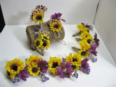 Rustic Natural Wild Sunflower Purple Daisies Wedding Groomsmen Boutinneer, Wedding, Wedding Accessories - Set of 10. $99.95, via Etsy.