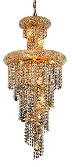Spiral 10 Light Crystal (Clear) Chandelier in Gold Finish 1800SR16G/EC