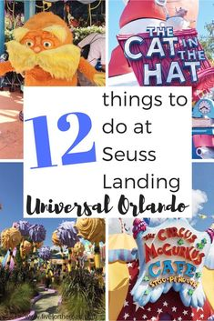 12 things to see and do at Seuss Landing. Located at Islands of Adventure at the Universal Orlando Resort. Orlando Travel, Orlando Vacation, Orlando Resorts, Family Vacation Destinations, Florida Vacation, Florida Travel, Family Vacations, Family Travel, Cruise Vacation