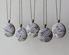 Set of 5 Bridesmaid Necklaces, White and Gray Wedding Jewelry Gray Bridesmaid Jewelry Gray Unique Bridal Shower Favors Wedding Lace Necklace on Etsy, $130.00