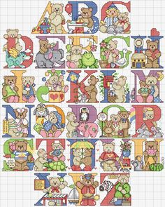 alfabeto maiuscolo punto croce con orsetti carini - magiedifilo.it punto croce uncinetto schemi gratis hobby creativi