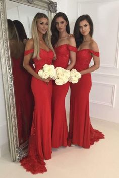 bridesmaid dress,Red off shoulder lace long prom dress, mermaid long bridesmaid dress