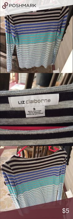 Liz Claiborne Striped Long Sleeved Shirt Liz Claiborne Long Sleeved Striped Shirt in size small, in excellent condition other than one tiny black mark on the back that isn't noticeable at all. Liz Claiborne Tops Tees - Long Sleeve