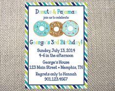 PRINTED or DIGITAL Donuts Milk Pajama Birthday by HanBananDesigns