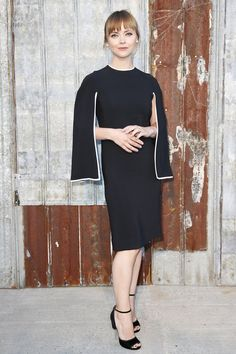 The caped sleeves on this dress look so elegant on Christina Ricci at Givenchy Spring 2016 Ready to Wear