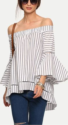 """Multicolor Striped Off The Shoulder Bell Sleeve Blouse  40% Off your first order. More surprises at <a href=""""http://www.shein.com"""" rel=""""nofollow"""" target=""""_blank"""">www.shein.com</a>!!"""
