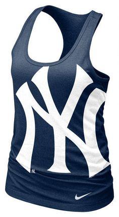New York Yankees MLB Nike Womens Navy Cotton Racerback Tank