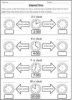 Free Elapsed Time Worksheet For School Telling Time Activities, Teaching Time, Teaching Math, Maths, Math Fractions, Math Games, 2nd Grade Worksheets, Printable Math Worksheets, Worksheets For Kids